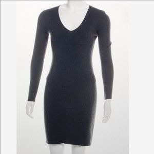 Theory Charcoal Gray V Neck Sweater Dress S